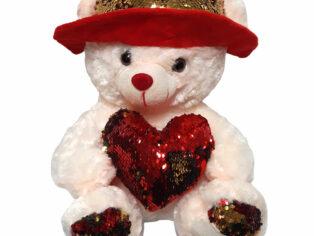 اسباب بازی خرس ولنتاین با قلب پولکی